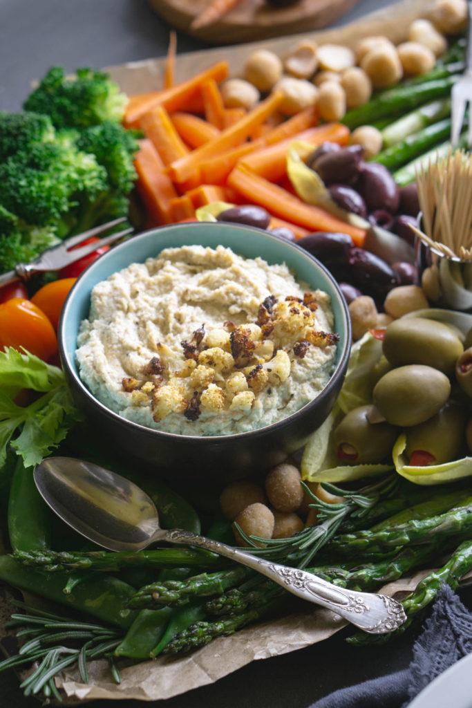 Roasted Cauliflower Hummus and veggies