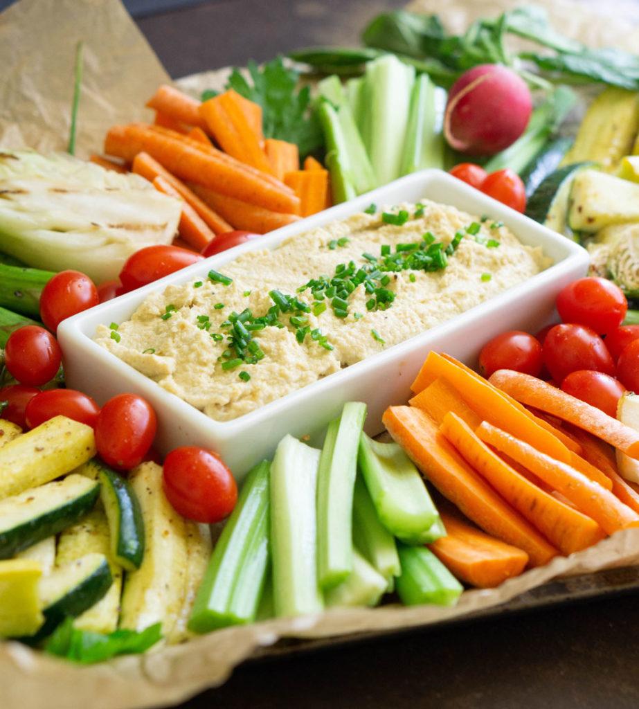 Roasted Cauliflower Hummus and organic vegetable platter